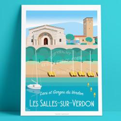 Artwork, Les Salles-sur-Verdon, Var, Gorges du Verdon, Provence, Eric Garence, illustration, poster, vintage, retro, Visitvar