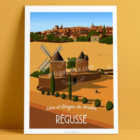 Artwork, Régusse Windmills, Var, Gorges du Verdon, Provence, Eric Garence, illustration, poster, vintage, retro, Visitvar