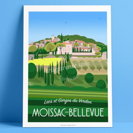 Artwork, Jazz Moissac-Bellevue, Var, Gorges du Verdon, Provence, Eric Garence, illustration, poster, vintage, retro, Visitvar
