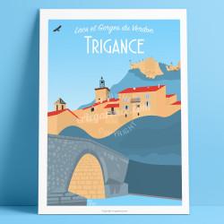 Affiche, Trigance, fossile, Var, Gorges du Verdon, Provence, Eric Garence, illustration, poster, vintage, retro, Visitvar