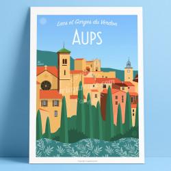 Affiche, Aups, truffe, Var, Gorges du Verdon, Provence, Eric Garence, illustration, poster, vintage, retro, Visitvar