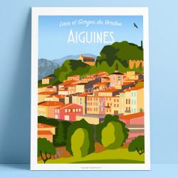 Affiche, Aiguines, Var, Gorges du Verdon, Provence, Eric Garence, illustration, poster, vintage, retro, Visitvar