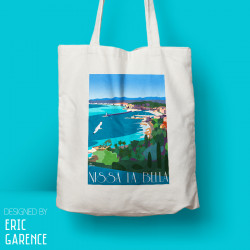 "Tote Bag ""Nice - Nissa la Bella"", french riviera, artwork, gift xmas, christmas, mont boron"