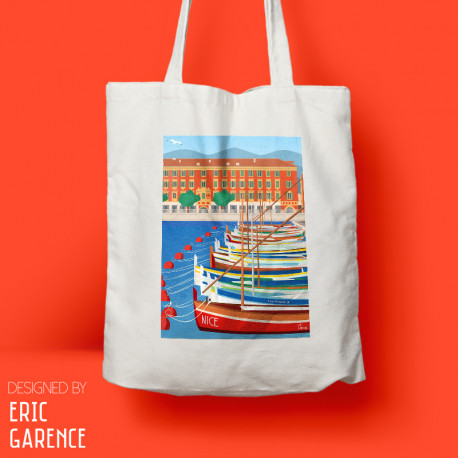 "Tote Bag ""Lou Passagin - Port de Nice"" chaises bleues, cadeau, souvenir eric garence made in france cote d'azur cadau noel"
