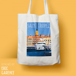 "Tote Bag ""Saint Tropez - Le Port"", french riviera, artwork, gift xmas, christmas, Yacht, harbour"
