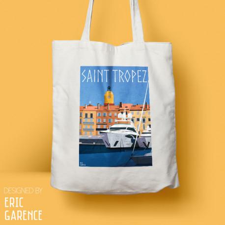"Tote Bag ""Saint Tropez - Le Port"", french riviera, artwork, gift xmas, christmas, Yacht, harbour"