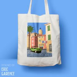 "Tote Bag ""Le Gendarme de Saint Tropez"" , french riviera, artwork, gift xmas, mehari, citroen, de funes"