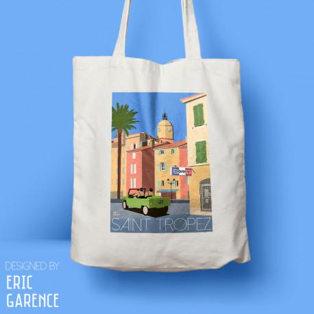 """Tote Bag """"Le Gendarme de Saint Tropez"""" , Eric Garence, Golfe, mehari, idée, noel, cadeau, cote d'azur, de funes, cruchot,"""