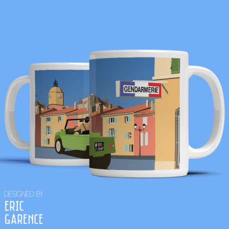 "Mug ""Le Gendarme de Saint Tropez"" , Eric Garence, Golfe, mehari, idée, noel, cadeau, cote d'azur, de funes, cruchot,  mehari"