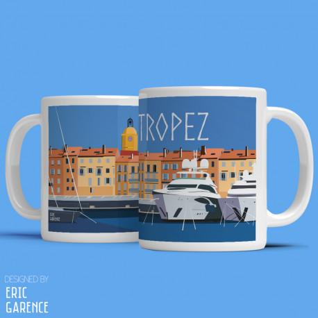 """Mug """" Port de Saint Tropez"""" , Eric Garence, Golfe, Yacht, clocher, noel, cadeau, cote d'azur, de funes, cruch"""