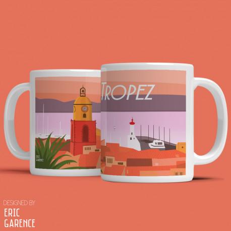 """Mug """"Coucher de soleil à Saint Tropez"""" , Eric Garence, Golfe, mehari, idée, noel, cadeau, cote d'azur, de funes, cruch"""