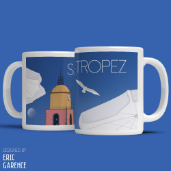 "Mug ""The Beach and the bell tower of Saint Tropez"""