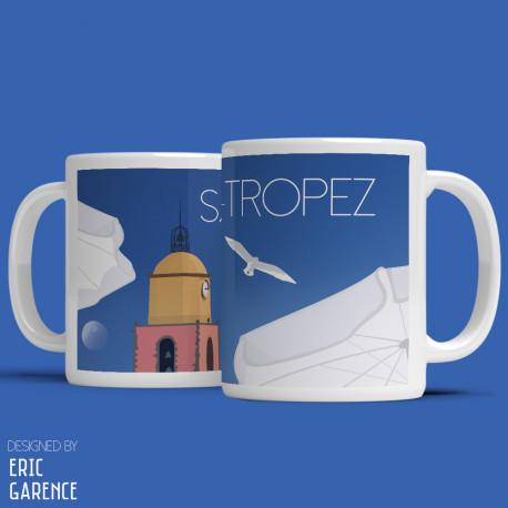 """Mug """"La Plage et le clocher de Saint Tropez"""" , Eric Garence, Golfe, mehari, idée, noel, cadeau, cote d'azur, de funes, cruch"""