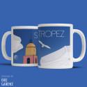 """Mug """"La Plage et le clocher de Saint Tropez"""""""
