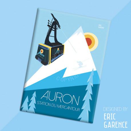 """Magnet, """"Auron, Ski Resort in Mercantour"""", aimant, fridge, gift, business,"""