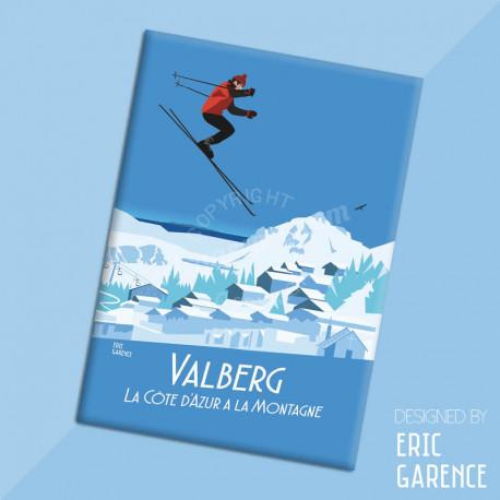 """Magnet, """"Valberg, Station de Ski du Mercantour"""" Aimant, Eric Garence, Deco, house, gift, cadeau, business, nice, cote d'azur"""