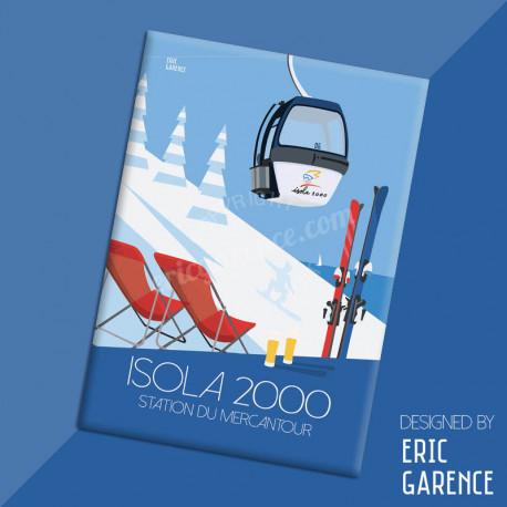 """Magnet, """"Isola 2000, Station de Ski du Mercantour"""" Aimant, Eric Garence, Deco, house, gift, cadeau, business, nice, cote d'azur"""