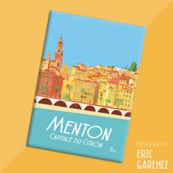 """Magnet, """"Menton, Capitale du citron"""" Aimant, Eric Garence, Deco, house, gift, cadeau, business, nice, cote d'azur"""