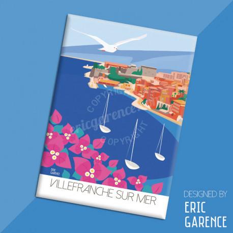 """Magnet, """"Villefranche-sur-Mer"""" Aimant, Eric Garence, Deco, house, gift, cadeau, business, nice, cote d'azur, artiste niçois, nis"""