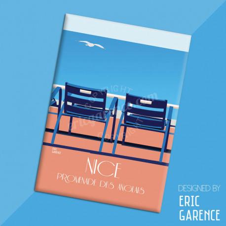 "Magnet, ""Nos 2 chaises bleues"" Aimant, Eric Garence, Deco, house, gift, cadeau, business, nice, cote d'azur, artist"