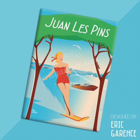 """Magnet, """"Ski nautique à Juan-les-pins"""" Aimant, Eric Garence, Deco, house, gift, cadeau, business, nice, cote d'azur, artist"""
