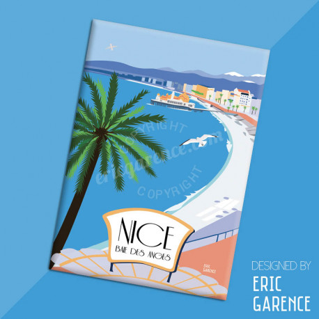 "Magnet, ""Nice - Baie des Anges"", aimant, fridge, gift, business,"