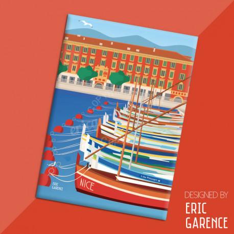 """Magnet, """"Le Port de Nice et lou Passagin"""", aimant, fridge, gift, business,"""