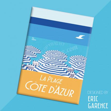 """Magnet, """"La Plage, Côte d'Azur"""" Aimant, Eric Garence, Deco, house, gift, cadeau, business, nice, cote d'azur, arti"""