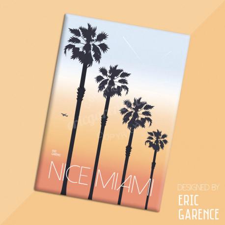 "Magnet, ""Nice ou Miami ?"" Aimant, Eric Garence, Deco, house, gift, cadeau, business, nice, cote d'azur, arti"