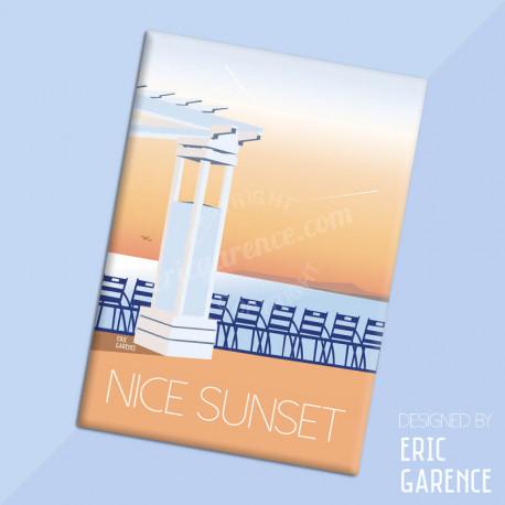 """Magnet, """"Nice Sunset et les chaises bleues"""" Aimant, Eric Garence, Deco, house, gift, cadeau, business, nice, cote d'azur, arti"""