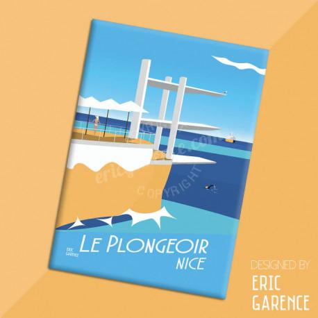 """Magnet, """"Le Plongeoir, 2017"""" Aimant, Eric Garence, Deco, house, gift, cadeau, business, nice, cote d'azur, arti"""