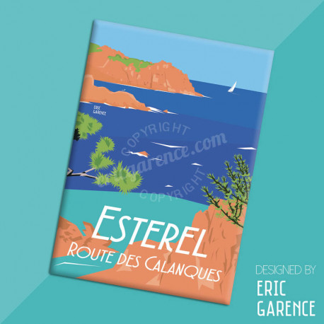 "Magnet, ""Esterel, Route des Calanques"", aimant, fridge, gift, business,"