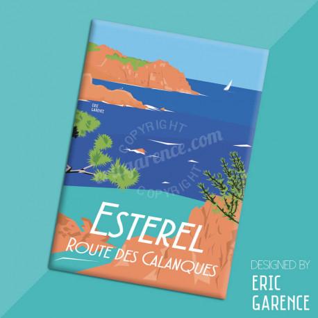"""Magnet, """"Esterel, Route des Calanques"""" Aimant, Eric Garence, Deco, house, gift, cadeau, business, nice, cote d'azur, arti"""