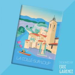 """Magnet, """"Les secrets de La Colle-sur-Loup"""" Aimant, Eric Garence, Deco, house, gift, cadeau, business, nice, cote d'azur, arti"""