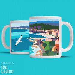 """Mug """"Nissa la Bella"""" , Eric Garence, Golfe, mehari, idée, noel, cadeau, cote d'azur, de funes, cruch"""