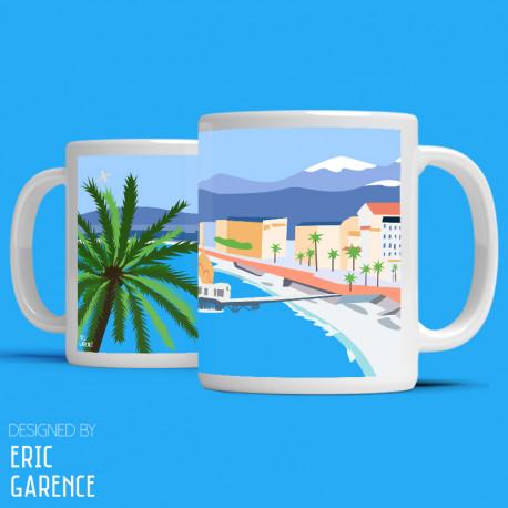 """Tote Bag """"Nice Baie des Anges"""" , french riviera, artwork, gift xmas, mehari, citroen, de funes, mehari, c"""