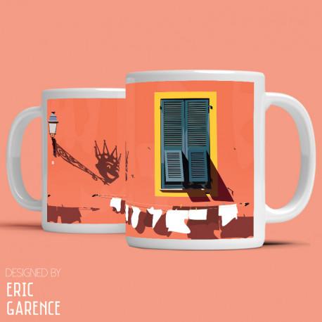 """Mug """"Le Vieux Nice et le Roi du Carnaval"""" , Eric Garence, Golfe, mehari, idée, noel, cadeau, cote d'azur,"""