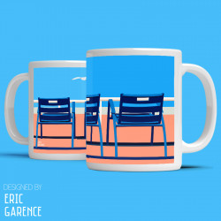 """Mug """"La Ponche et BB à Saint Tropez"""" , Eric Garence, Golfe, mehari, idée, noel, cadeau, cote d'azur, de funes, cruch"""