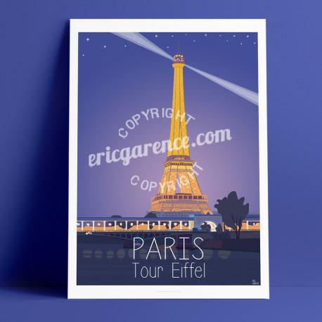 Affiche Paris Tour Eiffel par Eric Garence, Paris Ile de France 75 rétro vintage illustration dessin parisien dessin