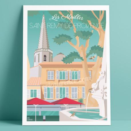 Affiche, Saint-Remy de Provence, Place Jules Pelissier Fontaine, 2020, Eric Garence, déco, art, paintings
