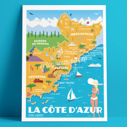 Poster French Rivierea Map by Eric Garence, French Riviera aluminim plexiglass paper original limited illustration
