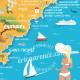 """Affiche """"La Carte de la Côte d'Azur"""" par Eric Garence, Côte d'Azur France cadeau illustration"""