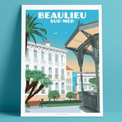 Poster Beaulieu sur Mer le Kiosque by Eric Garence, French Riviera aluminim plexiglass paper original limited