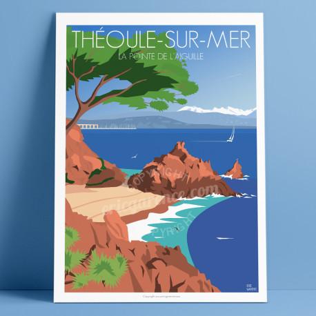 """Affiche """"Théoule-sur-Mer, La Pointe de l'Aiguille"""" par Eric Garence, Côte d'Azur France cadeau Plage, esterel"""