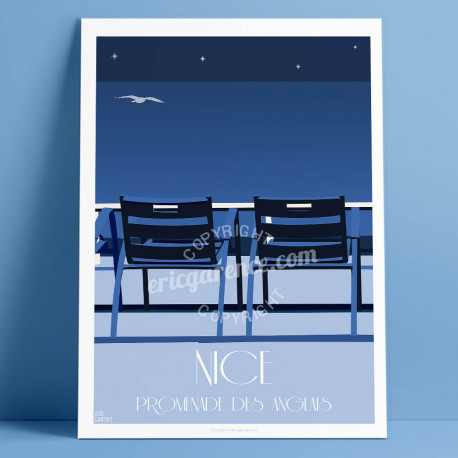 Poster Nice blue chairs by night à Nice by Eric Garence, French Riviera french made in France deco frenchie collection Prom walk