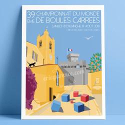 Affiche Championnat du monde de boules carrées 2018 à Cagnes par Eric Garence, Côte d'Azur France alu dibond plexiglass papier o