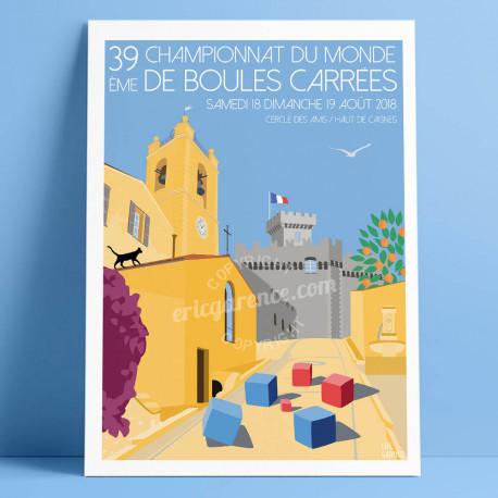 Poster Championnat du monde de boules carrées 2018 à Cagnes by Eric Garence, French Riviera aluminim plexiglass paper original l