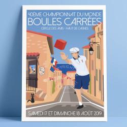 Poster Championnat du monde de boules carrées 2019 40eme à Cagnes by Eric Garence, French Riviera aluminim plexiglass paper orig