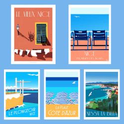 Pomenade des Anglais, Blue Chairs - ART PACK - NICE FRENCH RIVIERA  -  Poster Art Gallery Artwork, Colorful