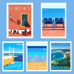ART PACK - Nissa la Bella - Affiche Rétro Ancienne - Art Galerie - Chaises Bleues   Bonjour l'affiche, France, Provence,  achat,